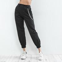 kore koşu toptan satış-Streetwear Zincir Kargo Pantolon Kadın Jogging Yapan Pantalon Femme Yüksek Bel Gevşek Kadın Pantolon Kadın Kore Tarzı Bayanlar Pantolon Capri