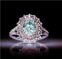 ingrosso anello topazio rosa-New Pink Crystal CZ Donna Anelli di alta qualità Classic Ladies Fidanzamento Anelli di nozze femminile intarsiato topazio verde Anelli gioielli all'ingrosso