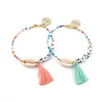 Wholesale colored crosses resale online - Cross border bohemian colored rice beads tassel bracelet summer ladies shell bracelet handmade beaded letters bracelet