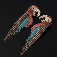 kristal küpeler avustralya toptan satış-PPGPGG Kadınlar Moda Renkli Avustralya Kristal Püskül Küpe Zarif Altın Kuş Küpe Düğün Parti Papağan Takı