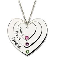 familiennamen halskette großhandel-Personalisierte Herz Anhänger Name Halskette mit Birthstone, benutzerdefinierte Familie Halskette Herz Halskette, Muttertagsgeschenk # EW40