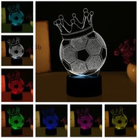 Wholesale lamp crown for sale - Group buy 3D Magical Imperial Crown Football illusion LED Night Lights Novelty Mood Visual Atmosphere Party Lamp Creative Gift for Kids Man Sportman