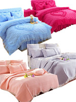 Wholesale queen size lace bedspread resale online - 4Pcs Luxury Cotton Lace Throw Blanket Bedspread King Queen size Pink Green Princess Girls Bed skirt Bedsheet Pillowcase