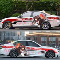 etiqueta de la puerta del vehículo al por mayor-Japón Anime Vinyl Car Sticker Kantai Collection Yamato Cartoon Door Decals Ralliart Rally Stickers On Car Vehicle Accessories