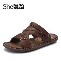 коричневые кожаные сандалии оптовых-2019 New PU Leather Men Sandals Black Brown Sewing Beach Shoes Men Cool Summer Shoes Breathable Mens Leather Sandals size 38-46