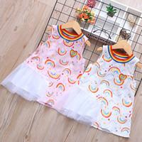 Wholesale loved baby clothing for sale - Group buy Hot Summer Babies Love Rainbow Skirts Dress Printing Round Neck Outdoor Dresses Girls Cartoon Fashion Home Clothing dh E1