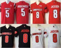 camiseta de fútbol blanca para hombre al por mayor-Mens barato de la universidad de Louisville Cardinal cosido 8 Lamar Jackson 5 Bridgewater Rojo Negro jerseys blancos del balompié