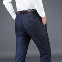 verjüngte jeans männer hosen großhandel-Jeanshose Herren 2020 New Slim Fit Cotton Jeans Herren Herbst Small Tapered Pants Trend Studenten Baumwolle