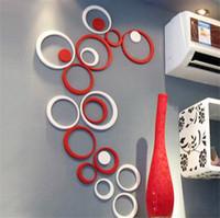 cercle stéréo achat en gros de-DIY Cercles Autocollants Décoration Intérieure Stéréo Amovible 3D Art Stickers Muraux Pegatinas De Pared Autocollants 5 taille 5pcs / set