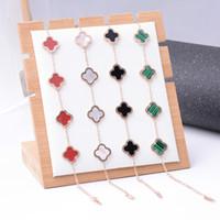 ingrosso titanio bianco-Braccialetti di lusso in acciaio al titanio a quattro trifogli per donne, ragazze, nero, bianco, verde e rosso