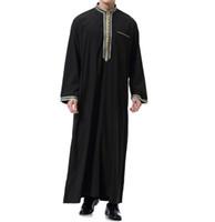ingrosso abiti islamici bianchi neri-plus size islamico abbigliamento uomo girocollo manica lunga autunno abaya hombre nero bianco jubba thobe per gli uomini partito allentato vestito 3xl
