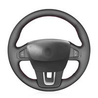 рулевое колесо renault оптовых-MEWANT ручной пошив Protecter Черная искусственная кожа руль крышка обруч для Renault Laguna 2008-2015 широта 2010-2015