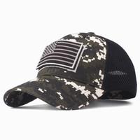 amerikan bayrağı snapback şapka toptan satış-Yüksek Kalite ABD Bayrağı Kamuflaj Beyzbol Şapkası Erkekler Için Snapback Şapka Ordu Amerikan Bayrağı Beyzbol Şapkası Kemik Trucker Gorras