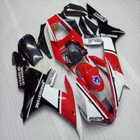 yamaha yzf r1 carenados personalizados al por mayor-Pernos + ABS negro motocicleta de plástico kit de carrocería artículo blanco rojo de encargo para Yamaha YZFR1 2002-2003 YZFR1 02-03 carenados M2