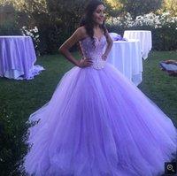 vestido de baile de formatura sem costura venda por atacado-vestido de bola atraente fortemente beading lantejoulas vestido de baile decote princesa inchado longo espartilho vestidos de baile 2019