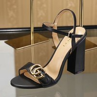 Wholesale black chunky heeled sandals resale online - Branded Women Cow Leather High Heel Sandal Lady leather Buckle Strap Rubber Sole Chunky Heel Sandal With Box