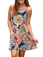 spaß sommerkleider großhandel-Famulily Damen Sommer lässig ärmellose Spaß Print Swing Tshirt Kleid Sommerkleid mit Taschen