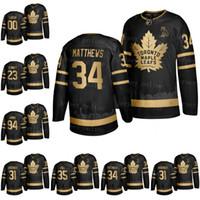 toronto hojas de arce jersey negro al por mayor-De Hombres Toronto Maple Leafs Mitch Marner Auston Matthews John Tavares 88 Nylander Gold Edition Negro OVO Brand jerseys S-3XL
