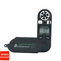 termómetro de velocidad del viento al por mayor-AZ8918 Anemómetro digital de bolsillo Medidor de velocidad del viento Medidor de velocidad del viento Higrómetro termómetro