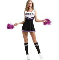 trajes cheerleading venda por atacado-2019 Cheerleading Traje Sexy Girl Torcendo Squad Rooters Desempenho Vestuário Plus Size Underwear com Cheerleading Flor Bola
