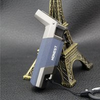 Wholesale honest keychain resale online - Honest Metal Torch Butane Lighter Windproof Stainless steel Jet Lighters KeyChain Ring No gas Kitchen Tools Accessories WIth Gift Box