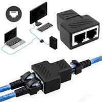 usb hdmi conversor full hd al por mayor-Nuevo cable de red Ethernet de moda Puerto LAN Adaptador de conector de divisor de zócalo 1 a 2 Nuevo zócalo de cable de red Ethernet