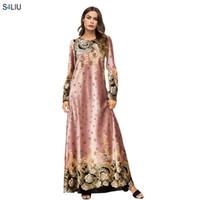 свадебные платья оптовых-Elegant Women Velvet Maxi Dress Floral Geometric Printed Dresses Vestidos Vintage Muslim Kimono Casual Ramadan Islamic Clothes