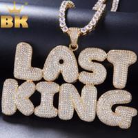 ingrosso nomi di catena di collegamento-Personalizzato Bubble iniziale lettere parole nome Oem Link pendente collana con 4mm Cz catena piena di cristalli di zirconi gioielli J190625