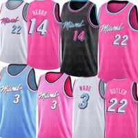 баскетбол джерси розовый оптовых-Дуэйн Уэйд 3 Джимми Батлер 22 Джерси NCAA College Тайлер 14 Херро Баскетбол Трикотажные мужские Белый Черный Розовый Синий