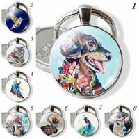 ingrosso cani farfalla-Portachiavi animali della pittura a olio, portachiavi del cane del gatto, pendente del colibrì della farfalla, gioielli del pavone degli alci del cavallo