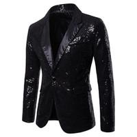 kulüp blazers toptan satış-V Boyun Sequins Tek Düğme Erkek Parti Blazer Moda Panelli Sıska Erkek Kulübü Mont