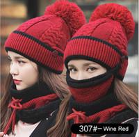 yüz eşarp kış toptan satış-Tasarımcı Eşarp Şapka Eşarplar Kadınlar Kış Şapka Spor Moda Örgü Şapka İşlemeli Kalın Bayan Sıcak Caps 1 Kadın Yumuşak içinde maskeler 3 Yüz