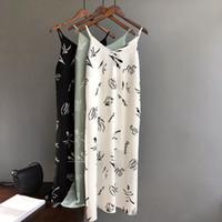 camis largo blanco al por mayor-Mooirue Summer 2019 Mujeres Tank Dress Casual Stripe White Green Black Long Camisole Slim Women Beach Cami Dress