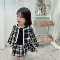 kızkardeş kıyafeti elbiseleri toptan satış-Lady tarzı çocuk prenses kıyafetler güz çocuklar uzun kollu ekleme ekose elbise + kafes blazer dış giyim 2 adet setleri bebek kız giysileri F9575