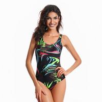 ingrosso panni che coprono i vestiti da bagno-Fashion Covered belly Slim print Bikini Swimwear per le donne Costume da bagno Beachwear Summer one piece Sexy Lady Swimsuit