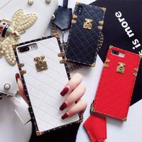 enviar caso al por mayor-Para Iphone 6 7 8 Plus funda de cuero cuadrada XS Max XR flor de lujo Enviar cordón anticaída Para IPhone 11 Pro Max Fundas