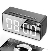 Wholesale mp3 player alarm clock resale online - BT506 Portable Bluetooth Speaker with clock alarm clock Super Bass Wireless Subwoofer Stereo Speakers Mirror Alarm for Phone Computer
