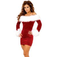 santa elbiseli kıyafetler toptan satış-Seksi Cosplay Bayanlar Noel Kadife Bayan Noel Baba Kıyafet Tüp Üst Mini Elbise Kırmızı XMAS Fantezi Elbise Kostüm disfraz Cadılar Bayramı