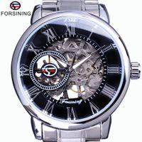 Wholesale man steel 3d for sale - Group buy Forsining Classic Retro Series D Logo Transparent Dial Silver Steel Skeleton Clock Men Watch Top Brand Luxury Mechanical Watch