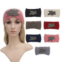 обертывания для рук ручной работы оптовых-Women Lady Crochet Bow Knot Turban Knitted Elastic Head Wrap Hairband Handmade Keep Warm Hairband Hair Band Accessories