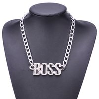 панк-рок-цепи оптовых-Punk Gothic BOSS Necklace with Full Rhinestone For Men Rock Hip Hop Charm Choker Chain Necklace Retro Personalized