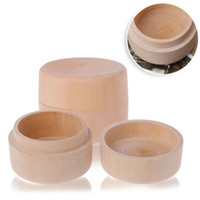 Wholesale wood vintage accessories resale online - Small Round Wooden Storage Box Ring Box Vintage Decorative Natural Craft Jewelry Box Case Wedding Accessories CCA11868