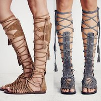 Leather Knee High Gladiator Sandals Australia | New Featured