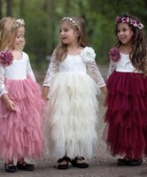 Wholesale simple hand made dresses for girls resale online - wedding dresses for girls Simple Style Lace Appliques D Hand Made Flower Scoop Neck Long Sleeve Tulle Tiered Ankle Length Cute