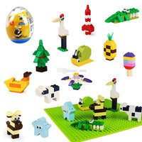 Wholesale style flower toy resale online - Mini Animals Building blocks Series Twist Eggs Toys Styles Ice Cream Star Flowers Cow Bricks Toys