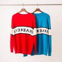 tricots de mode gratuits achat en gros de-Rouge Bleu Designer Mens Pull De Mode À Manches Longues Lettre Imprimer Couple Tricots Automne Lâche Pull Pulls Pour Les Femmes Livraison Gratuite