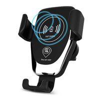cargador inalámbrico compatible qi al por mayor-Soporte para teléfono para automóvil de gravedad auto cargador inalámbrico qi operación con una mano compatible para iphone x 8 Samsung, todos los teléfonos habilitados para qi