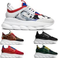 Wholesale rounded sole shoes for sale - High Quality Mens Chain Reaction Luxury Casual Shoes Chainz White black Spotted Womens Fashion Designer sports sneakers Sole With Dust Bag
