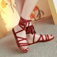 Wholesale beach wedding sandal resale online - Glittery2019 Popular2019 Will Code Flat Bottom Sandals Woman Beach Shoes Crossing Bandage Rome Shoe