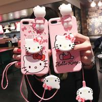 coque arrière iphone rose achat en gros de-Coque pour téléphone mignon Hello Kitty pour iPhone 6 6S 7 8 Plus XS MAX XR souple en silicone rose poupée Couverture arrière avec porte-clés cas Kickstand